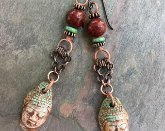 Artisan Earrings, FoxPaws, Buddha Jewelry, Meditation Jewelry, Ceramic Jewelry, Yoga Jewelry, Rustic Earrings, Meditation Earrings, SheFlies