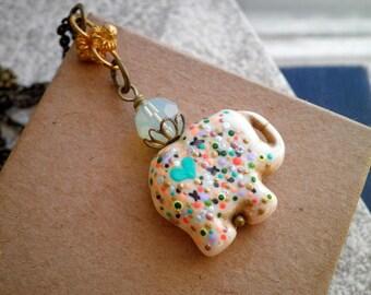 Stone Elephant Necklace - Bohemian Pointillism Enamel Dot Art Long Chain Charm Necklace - Wire Wrapped Miniature Animal Totem Jewelry Gift