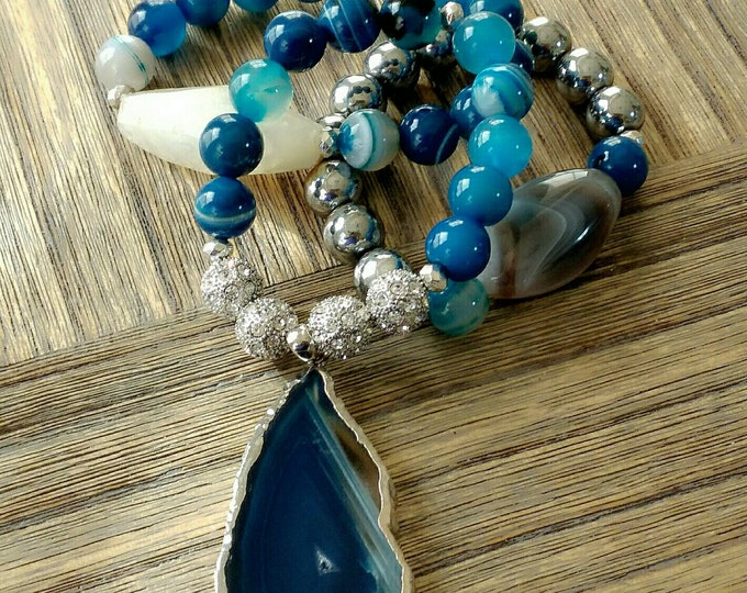 Gemstone Chunky Rhinestone Paved Dyed Blue Adate Stone Bracelet & Pendant Stack, birthday gifts, anniversary gifts, hematite Bracelet