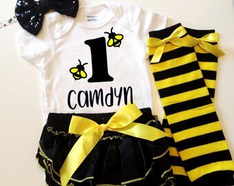 Bumblebee birthday, bumblebee onesie, bee diaper cover, bee bloomers, birthday outfit, first birthday, bee birthday, baby girl baby boy, 1st