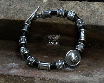 Mens Bracelet - Crusader,Natural leather, 100% Sterling Silver Bracelet - Skull, Cross Bracelet - Rocker Jewelry
