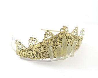 Inga Crystal Quartz and Gold Filigree Tiara - by Loschy Designs