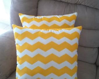 Two Dark Yellow Chevron Pillows 16x16 Couch Pillows Zig Zag Pillows Decorative Throw Pillows 2 Chevron Pillows Home Decor