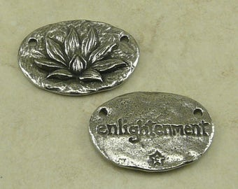 Enlightenment Lotus Green Girl Charm Link - Zen Tranquility Meditation Buddhist Flower - American Artist Made Lead Free Pewter Silver 255