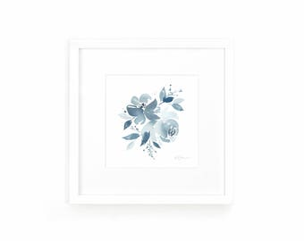 Indigo Floral Watercolor Art Print