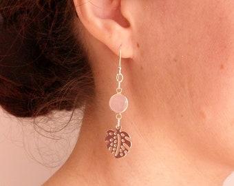 Boho chic 925 sterling silver leaf earrings