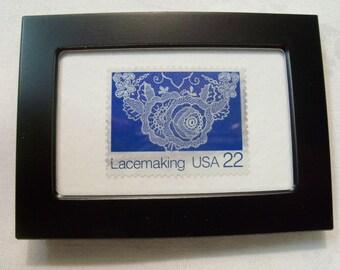 Lace Stamp, Vintage Stamp, Framed Postage Stamp, Lace, Gift under 10, Framed Lace, Gift for Her, Postage stamp