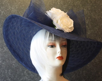 Navy Blue Kentucky Derby Hat, Derby Hat, Garden Party Hat, Tea Party Hat, Easter Hat, Church Hat, Wedding Hat, fashion hat NavyBlue Hat 901