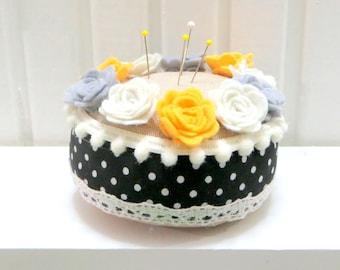 Yellow,Gray, Cream Roses Felt Pincushion, Black-White Polka Dot, Gift For Christmas