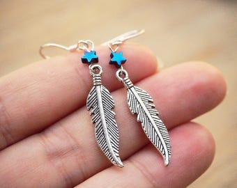 Silver Feather Earrings, Minimalist Earrings, Tribal Earrings, Star Earrings, Native American Jewelry, Boho Earrings, Blue Hematite Earrings