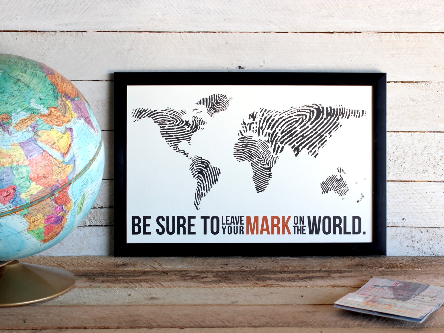 Fingerprint world map travel poster print leave your mark zoom gumiabroncs Choice Image