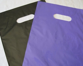 50 Plastic Bags, Black Bags, Purple Bags, Gift Bags, Party Favor Bags, Glossy Bags, Shopping Bags, Retail Bags, Bags with Handles 9x12