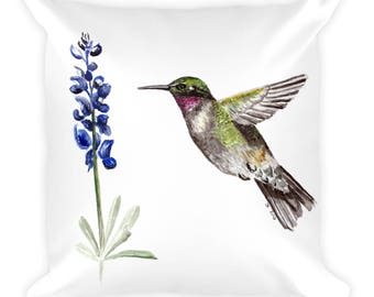 Hummingbird and Bluebonnet Square Pillow
