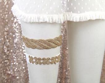 Metallic Gold Twist Pattern and Flower Lace Wedding Garter Set, Gold  Bridal Garter Set,Prom Garter Belt ,Toss Garter , Gold Lace Garter