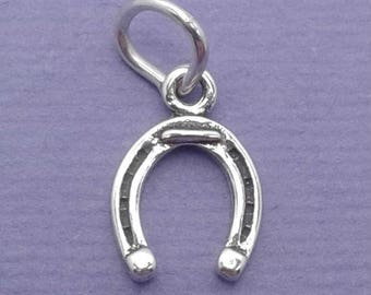 HORSESHOE Charm .925 Sterling Silver Horse Shoe, Good Luck, Amulet, Talisman, Small MINIATURE - elp629
