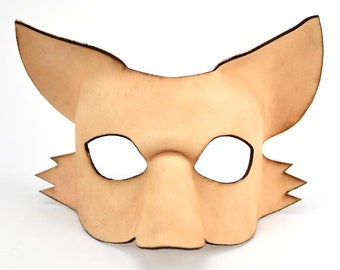 Leather Fox Mask, Paint Your Own, Masquerade Mask, DIY Leather Mask, Make a Mask, Kitsune Fox Spirit, How To, Leather Project, Mask Craft