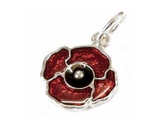 Sterling Silver & Enamelled Poppy Charm For Bracelets