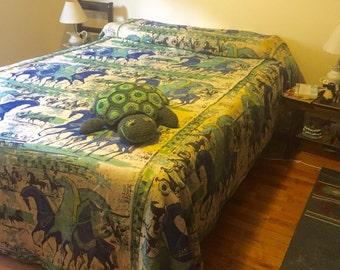 Mid Century Modern Duvet / Vintage Green and Blue Horses King Size Linen Bedspread