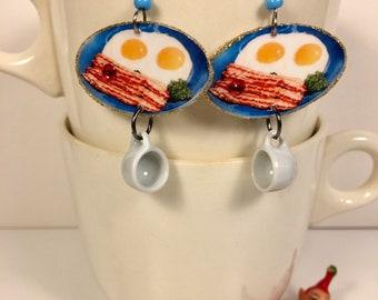 Bacon and Eggs Breakfast Earrings coffee  blue plate special diner breakfast