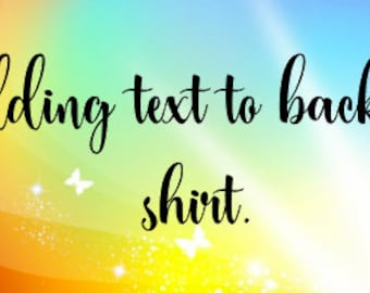 Adding Text to back of shirt