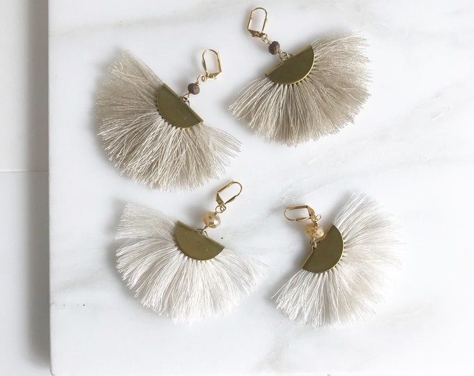 Neutral Tassel Chandelier Earrings.  Dangle Earrings.  Statement Earrings. Jewelry Gift. Gold Tassel Earrings. Chandelier Earrings Gift.