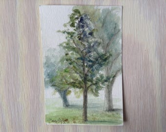 "Mini painting 6x4"" ""Herrin Park Tree Studies"" Original Plein Air Watercolor Study on a postcard"