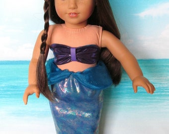 Purple/Blue Irridescent Mermaid Outfit, Purple Mermaid Top, Blue Irridecsent Tail, fits 18 inch dolls such as American Girl dolls,