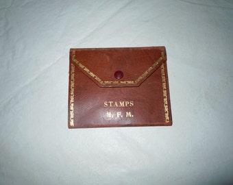Antique gold gilt Leather postage stamp Wallet book