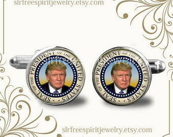 President Trump Cuff Links, Republican Party, Donald Trump Cuff Links, Presidential Seal, Trump Gift for Men, Political Cuff Links