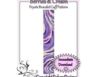 Bead Pattern Peyote(Bracelet Cuff)-Berries and Cream
