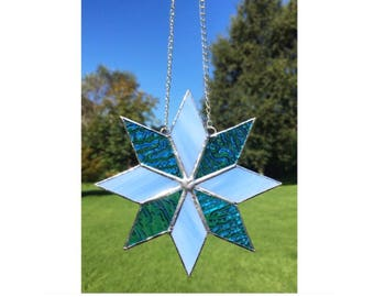 Stained glass star, blue star suncatcher decoration
