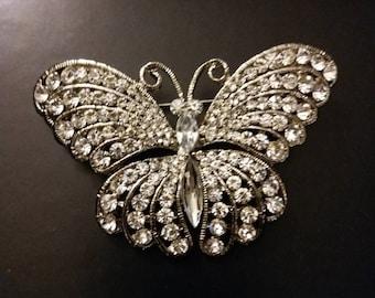 Rhinestones, Enamel, Gold Butterfly Brooches