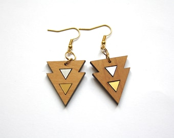 Geometric earrings, gold silver color triangles, chic modern minimal style art deco inspiration, natural wood, design, made in France Paris
