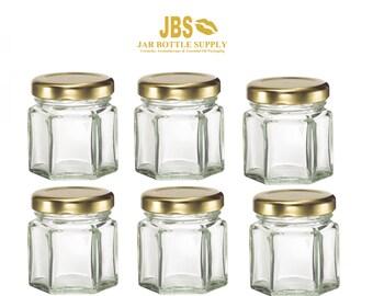 Set of 6 Glass 1.5 oz. Hexagon Jars with Gold Metal Lug Caps MINI Jars Honey, Jam, Preserves, Nuts, Candy, DIY Wedding Party Shower Favors