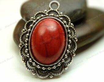 Red Magnesite Oval Gemstone Pendant - Antique Silver Tone Scalloped Edges 22x32mm - BK36
