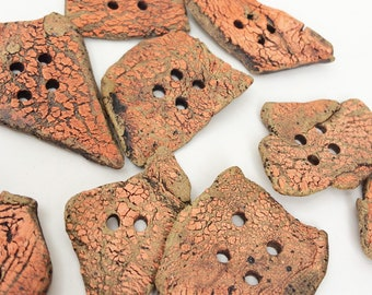 Ten Large Rustic Buttons, Handmade Ceramic Clay Textured Orange 10 buttons Puzzle Pieces, Wabi Sabi, Asymmetrical