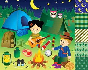 Camping Clipart Party Glamping Camp Clip Art Out Digital Paper Tent Summer Forest