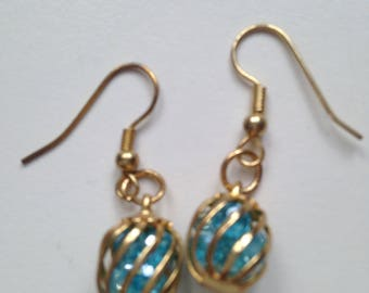 Caged Swarovski Turquoise Crystal Earrings