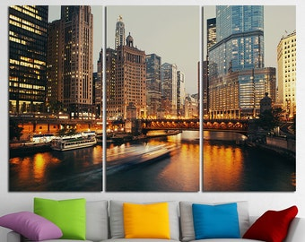 Chicago Skyline Chicago City Chicago Canvas Chicago Print Chicago Photo Chicago Poster Chicago wall art DuSable bridge Chicago downtown