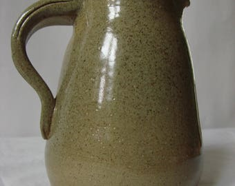Green stoneware pitcher