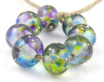Glamazonia SRA Lampwork Handmade Artisan Glass Donut/Round Beads Made to Order Set of 8 8x12mm