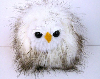 Stuffed Animal Plush Owl Stuffed Toy bird cute white black hoot kawaii miniature little softie woodland forest sleepy snow owl 5 inch
