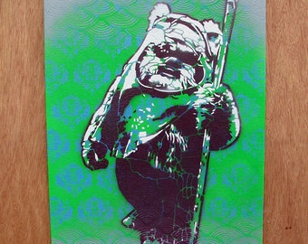 Ewok Multilayer Graffiti Stencil Art on Canvas Board 11x14