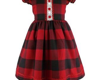 Red check dress