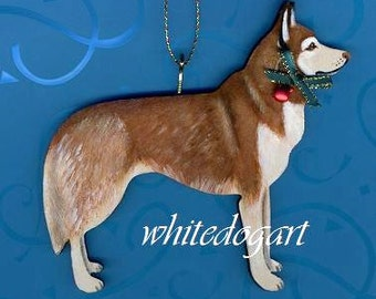 Custom Handpainted Red Siberian Husky Christmas Ornament