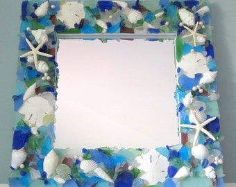 Sea Glass Mirror, Beach Decor Seashell Mirror, Nautical Decor Beach Glass Mirror, Coastal Decor Shell Mirror,  Sea Glass Wall Mirror  #SGM18