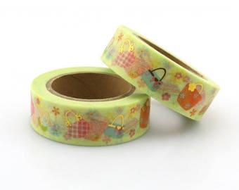 Gold Foil Purse Washi Tape - Foil washi Tape -  Purse Washi Tape - Paper Tape - Planner Washi Tape - Washi - Decorative Tape - handbag washi
