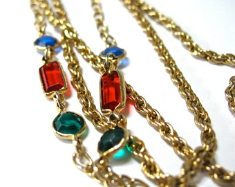 Multiple Chain Rhinestone Necklace, 1960's, Multi Chains, Red, Green, Blue Glass Stones, Gold Tone, Statement, Gift Idea, Excellent