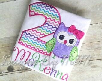 Personalized Owl Birthday Shirt/ Body Suit