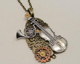 Steampunk jewelry Steampunk  pendant necklace .